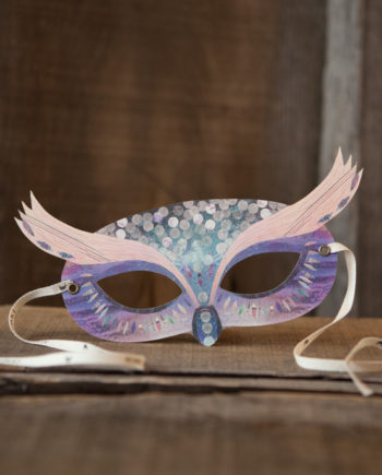 NINN APOULADAKI PARTY MASKS - PACKS KIDS - BIRTHDAY - WOODLAND - PURPLE WOODLAND OWL