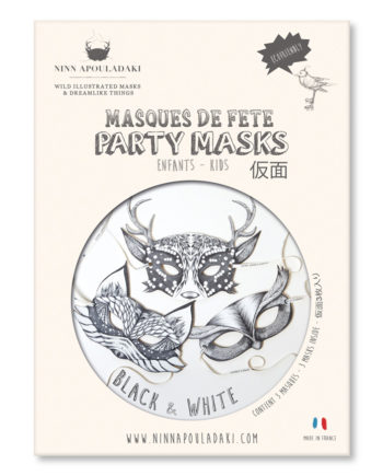 NINN APOULADAKI PARTY MASKS - PACKS KIDS - BLACK & WHITE
